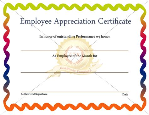 employee recognition certificate template employee appreciation certificate template certificate