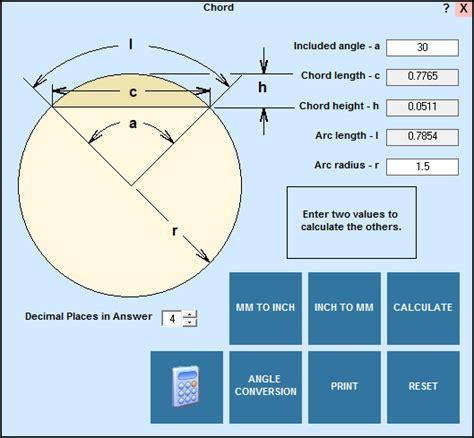 calculator arc chord calculations in editcnc
