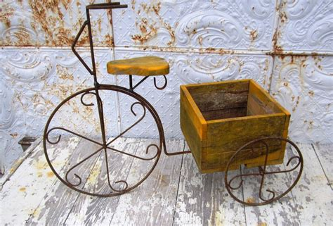 Wrought Iron And Wood Tricycle Planter Wrought Iron Planter