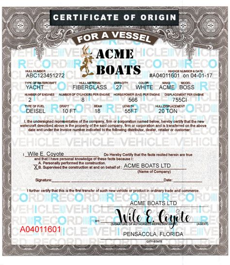 certificate of origin for a vehicle template 24 blank boat mco forms printing template vessel