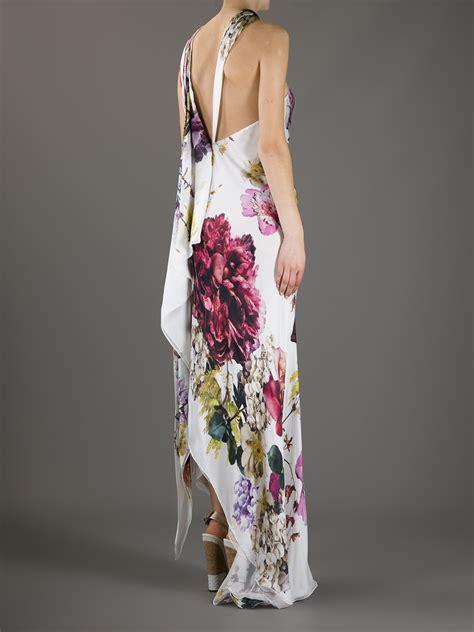 Cavali Dress roberto cavalli one shoulder floral print dress in floral lyst