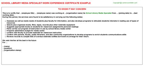 Library Media Specialist Cover Letter by Media Buyer Work Experience Certificates