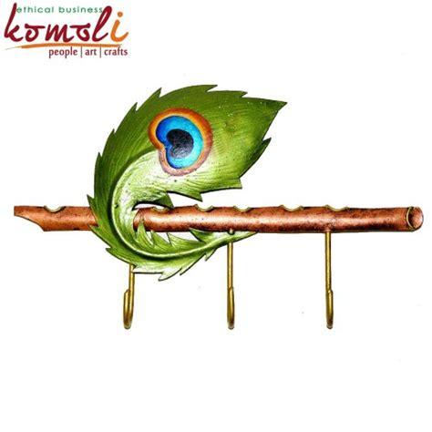 Wooden Wall Murals peacock feather key hanger