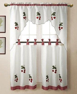 Strawberry Kitchen Curtains 3 Pc Strawberry Kitchen Window Embroidered Curtain Set W Valence 2 Tiers Curtains