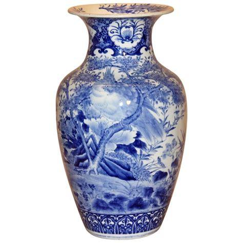 Japanese Pottery Vases by Large Antique Japanese Arita Blue And White Porcelain Vase