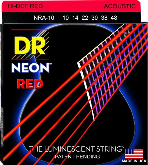 Dr Bass Accoustic dr strings acoustic guitar neon coated 010 048
