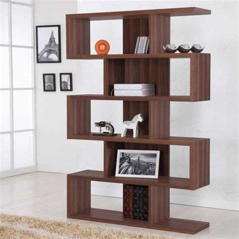 enitial lab marcel modern walnut bookcase display stand