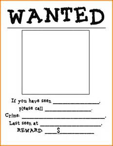 Free Wanted Poster Template For Kids Gallery For Gt Blank Wanted Poster Template For Kids