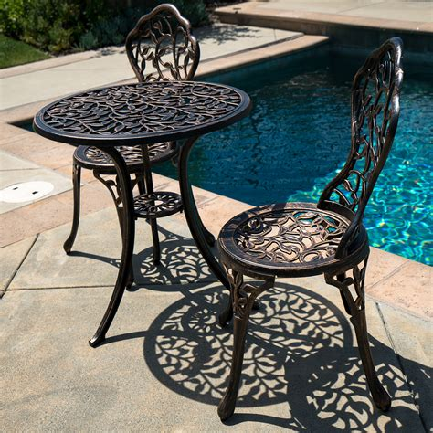 cast aluminum patio table and chairs 3pc bistro set in antique outdoor patio furniture leaf