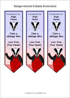 printable bookmarks sparklebox bookmarks and badger on pinterest