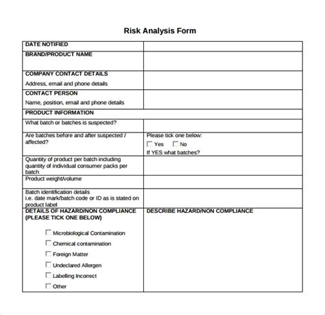 9 Sle Risk Analysis Templates To Download Sle Templates Risk Analysis Template