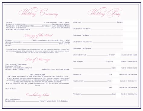 wedding bulletin templates best photos of free church