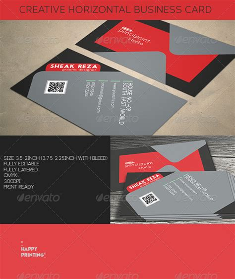 horizontal business card size template creative horizontal business card graphicriver