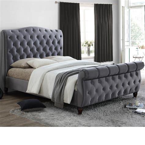 grey sleigh bed colorado grey fabric sleigh bed