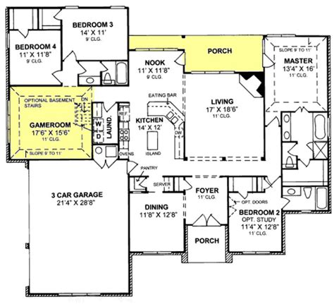 655799 1 Story Traditional 4 Bedroom 3 Bath Plan With 3 House Plans 3 Bedroom 2 Bath Car Garage