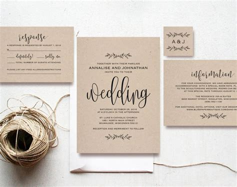 Diy Wedding Invitations Cheap by Kraft Wedding Invitation Printable Rustic Invitation Set