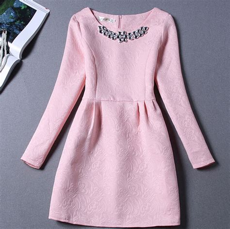 44260 Pink Winter Relax S M L Dress free shipping fall winter 2016 embroidered pink