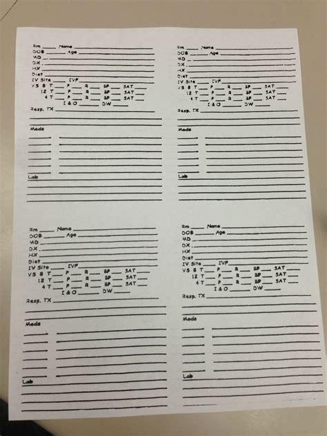 Med Surg Nursing Report Sheet Templates by 1000 Images About Nursing Report Sheet On