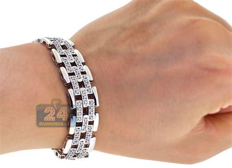 Mens Diamond Bicycle Link Bracelet 18K White Gold 2.20 ct 16 mm