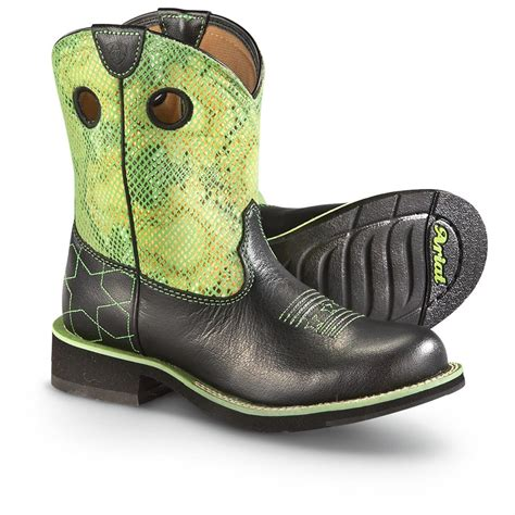s ariat 174 fatbaby starstruck boots black lime