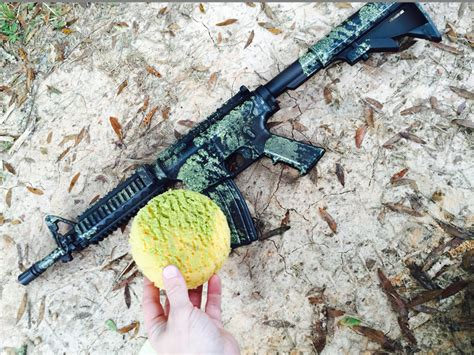 spray painting your rifle blue gear how to camo your rifle with a sponge
