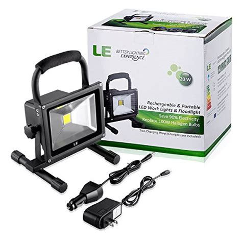 le 100w le 20w rechargeable portable led work light 100w halogen bulb equivalent 1400lm adapter and