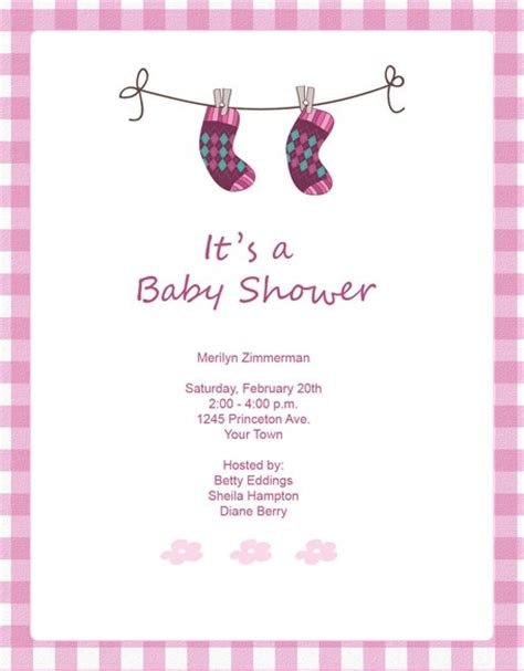 pink socks baby shower invitation template