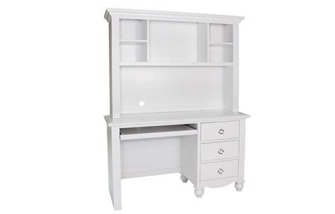 white computer desk with hutch and 3 drawers of compact