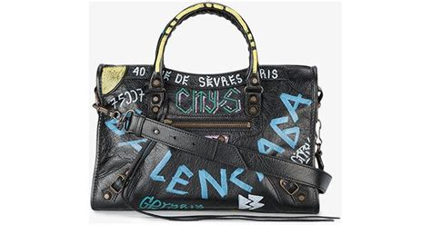 Guess Who The Balenciaga City Bag by Lyst Balenciaga Small City Bag With Graffiti Print In Black