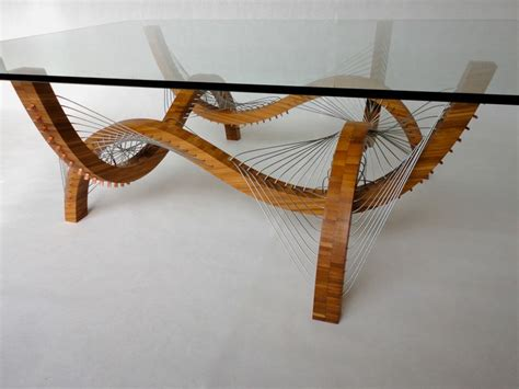 cable coffee table sculptural coffee table with bases held by steel