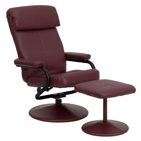 modern leather recliner with ottoman contemporary burgundy leather recliner and ottoman with