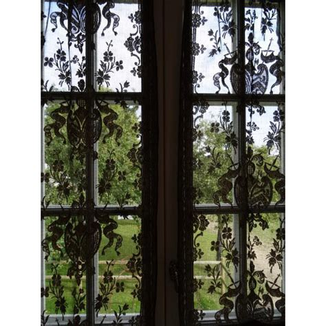 transparent curtains rare pair antique french black tulle gold thread chateau