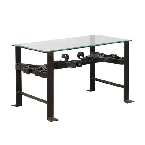 Black Wrought Iron Coffee Table With Glass Top Italian Wrought Iron Black Colored Coffee Table With Glass Top And Ornate Scrolls For Sale At