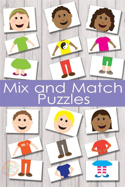 printable match up games mix and match puzzles free kids printable will have