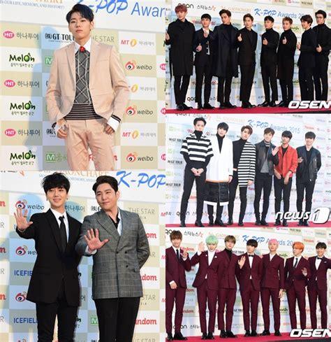 Setelan Denim Exo Berkualitas exo bts cs adu ganteng di carpet gaon k pop awards kabar berita artikel gossip
