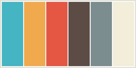 colour themes html colorcombo8344 with hex colors 44b3c2 f1a94e e45641