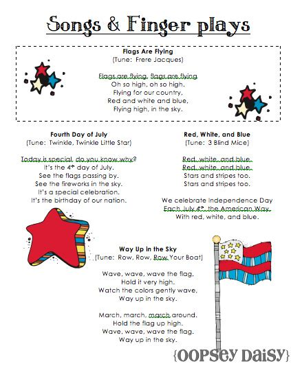 song pre k 4th of july ideas summer themes songs
