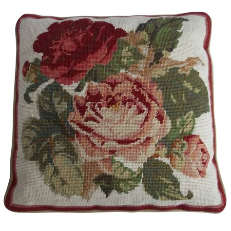needlepoint pillow or cushion roses mid 20th