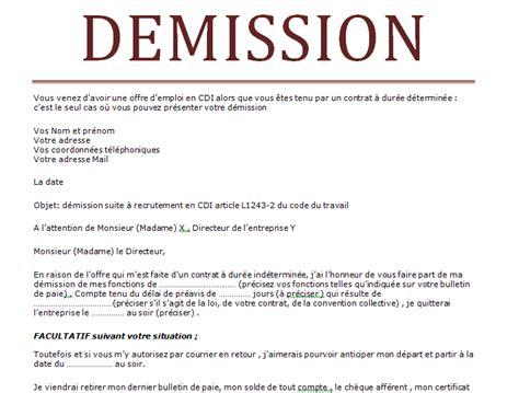 Modele De Lettre De Demission Simple