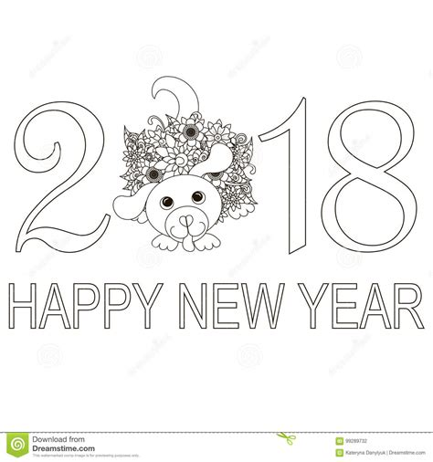 doodle happy new year monochrome typography banner happy new year 2018 with