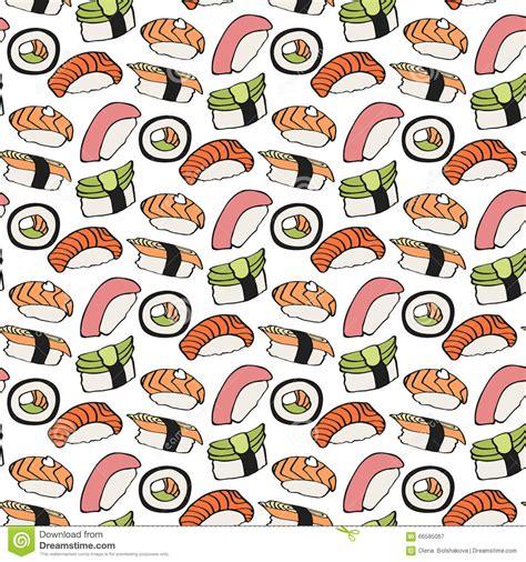 japanese meal pattern seamless sushi pattern vector illustration stock vector