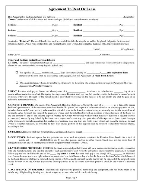 free lease agreement form lease agreement form free printable documents