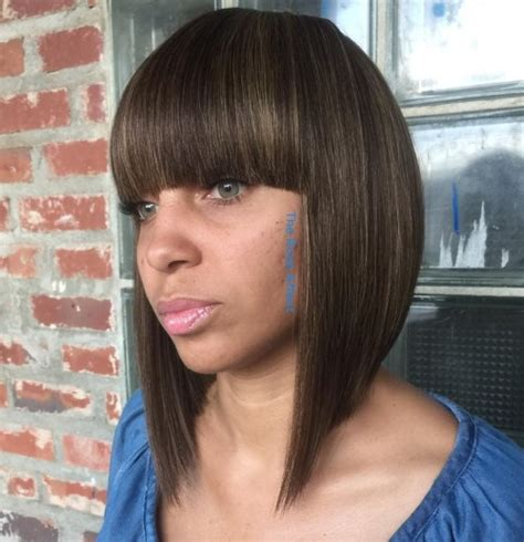 medium length haircut with side bang women hairstyle ware