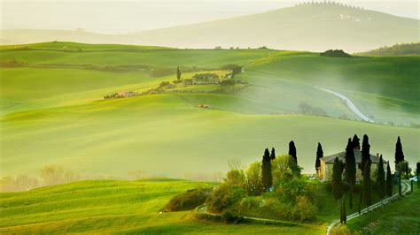 wallpaper tuscany italy europe hills field fog