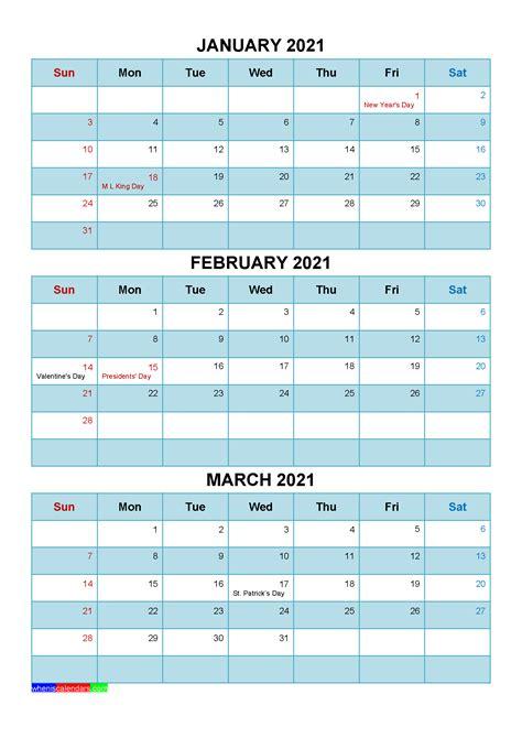 printable january february march  calendar template