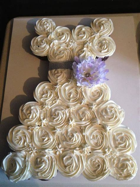 bridal shower cakes made out of cupcakes 12 bridal cake made of cupcakes photo bridal shower wedding dress cupcake cake wedding cake