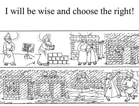 Wise Foolish Coloring Page free wise and foolish builders coloring pages