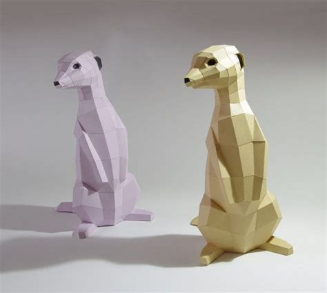 origami meerkat arco arte diy de suricata papercraft colors and etsy
