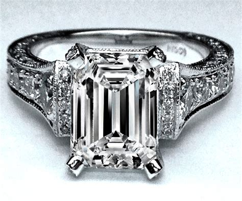 engagement ring large emerald cut cathedral