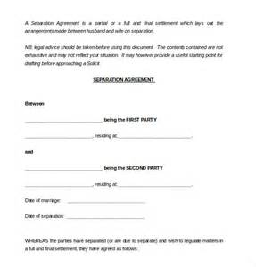 Marital Separation Agreement Template 10 separation agreement templates free sample example format